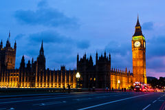 Houses of Parliament at Night, London Stock Photography