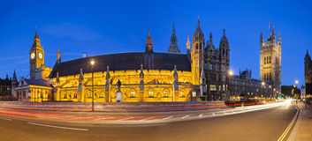 Houses Of Parliament At Night Panorama Royalty Free Stock Photo