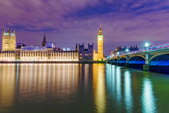 Houses of Parliament at night Royalty Free Stock Photography