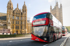 Houses of Parliament and  Red Double Decker Bus Royalty Free Stock Photo
