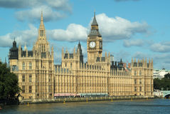 Houses of Parliament beside River Thames. Houses of Parliament with Big Ben clock tower beside River Thames London England United Kingdom Royalty Free Stock Image