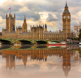 Houses of Parliament on the River Thames Stock Photo