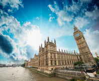 Houses of Parliament and River Thames, London. Beautiful wide an Stock Photography