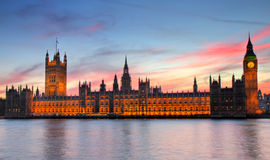 Houses of Parliament at sunset - HDR version. As seen from the Thames river walk, London, England Royalty Free Stock Photography