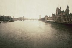 The Houses of Parliament, vintage look Royalty Free Stock Photo