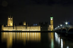 The Houses of Parliament and Westminster Bridge. In London at night Stock Photography