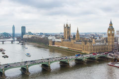 Houses of Parliament and Westminster Bridge as Viewed from the London Eye. This is a view of the Houses of Parliament in London, United Kingdom. This also shows Royalty Free Stock Images