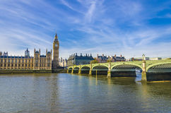 Houses of Parliament and Westminster bridge, London Royalty Free Stock Images