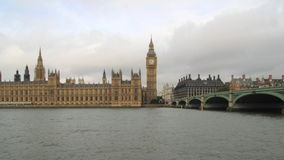 The Houses of Parliament Westminster bridge and river Thames London time lapse. Royalty Free Stock Photo