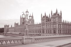 Houses of Parliament at Westminster; London. England; UK in Black and White Sepia Tone Royalty Free Stock Photos