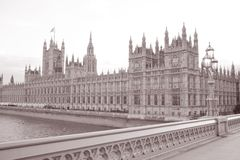 Houses of Parliament at Westminster; London. England; UK in Black and White Sepia Tone Royalty Free Stock Photography