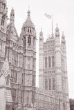 Houses of Parliament, Westminster, London. England, UK in Black and White Sepia Tone Royalty Free Stock Photography