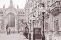 Houses of Parliament, Westminster, London. England, UK in Black and White Sepia Tone Stock Photo