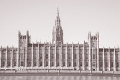Houses of Parliament, Westminster; London. England, UK in Black and White Sepia Tone Stock Images