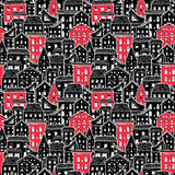 Houses Pattern Big Black and Red Royalty Free Stock Images