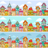 Houses pattern. Seamless pattern with rows of colorful houses Vector Illustration