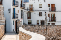 Houses in Peniscola castle, Spain Stock Images