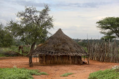 Houses of people from a tribe Hamer Stock Photos