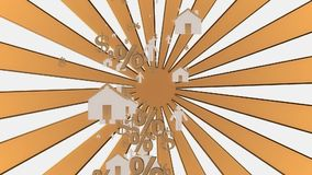 Houses,person,dollar and percent icons with sunburst stock footage