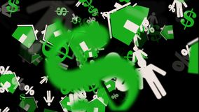 Houses,person,dollar and persent icons in green and white on black stock footage