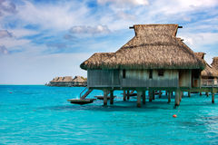 Houses on piles on sea. Maldives. Royalty Free Stock Images