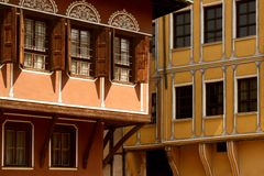 Houses in Plovdiv. Part of old houses in Plovdiv, Bulgaria royalty free stock photo