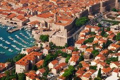 Houses and port of Dubrovnik Royalty Free Stock Images