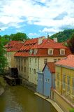 Houses in prague. Czech Republic, Prague, Water mill at Kampa Island near Charles Bridge Royalty Free Stock Photos