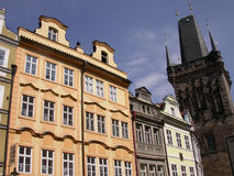 Houses of Prague. Building near Bridge Gate on the Charles Bridge in Prague royalty free stock photos