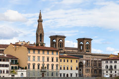 Houses on quay lungarno delle grazie of Arno River Stock Photos