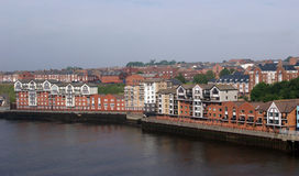 Houses  on the quays of Newcastle. Royalty Free Stock Photography