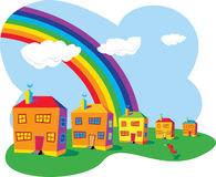 Houses and rainbow. Row of brightly-colored houses under a rainbow, and a dog barking at the sky. Vector format available Royalty Free Illustration
