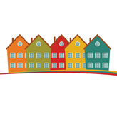 Houses or real estate on a a hill design Royalty Free Stock Image