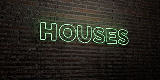 HOUSES -Realistic Neon Sign on Brick Wall background - 3D rendered royalty free stock image Stock Photo