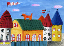 Houses and red cat. Hand-made, water-color image Stock Photos
