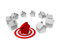 Houses and Red Darts Target. Isolated on white background. 3D render Stock Photos