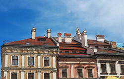 Houses with red roofs in Lviv, Ukraine Stock Images