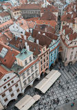 Houses with red roofs in Prague Old Town Square in the Czech Rep Stock Images