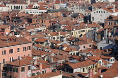 Houses with red-tile roofs and bricks in southern Europe Royalty Free Stock Images