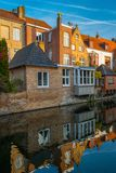 Houses reflected in canal water Royalty Free Stock Photo