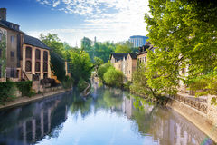 Houses reflecting in Alzette river, Luxembourg Royalty Free Stock Photography