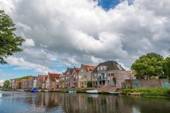 houses next to river , Edam , The Netherlands Stock Photo