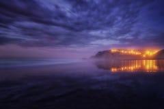 Houses reflection on Sopelana beach. Houses reflection on the Sopelana beach at night Stock Photo