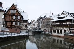 The houses reflection in Strasbourg during winter Stock Image