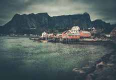 Houses in Reine village, Norway Royalty Free Stock Photos
