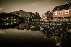 Houses in Reine village, Norway Stock Photo