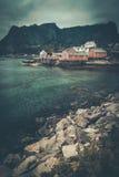 Houses in Reine village, Norway Stock Photos
