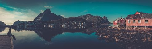 Houses in Reine village, Norway Royalty Free Stock Photography