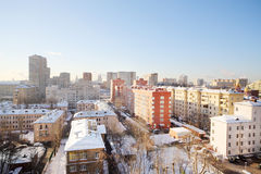 Houses in residential area at sunny winter day Royalty Free Stock Photos