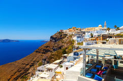 Houses and restaurants in town of Fira - island of Santorini Greece Royalty Free Stock Image